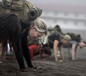 Private training on the beach.