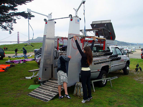 Setting up the boot camp weight truck at Crissy Field in San Francisco.